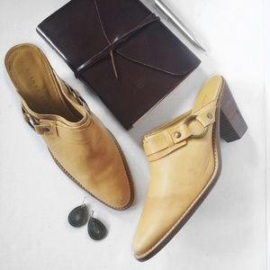 Gianni Bini Mustard Yellow Leather Mules/ Clogs 9